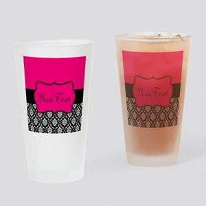 Personalizable Pink and Black Damask Drinking Glas