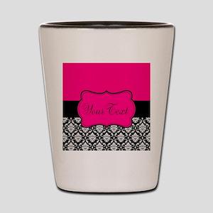 Personalizable Pink and Black Damask Shot Glass