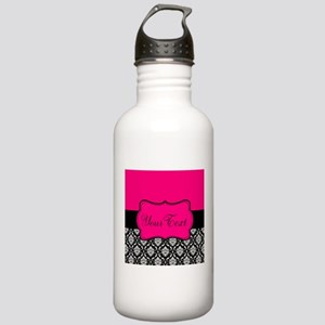 Personalizable Pink and Black Damask Water Bottle