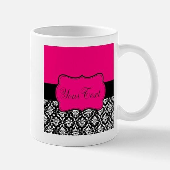 Personalizable Pink and Black Damask Mugs