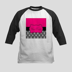Personalizable Pink and Black Damask Baseball Jers