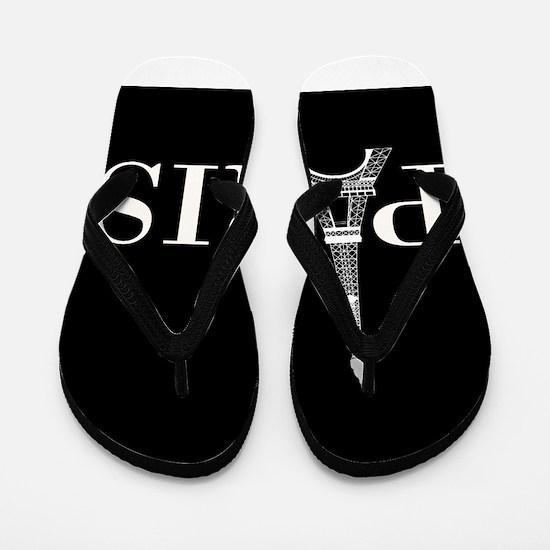 Paris Eiffel Tower Black White Flip Flops