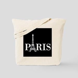 Paris Eiffel Tower Black White Tote Bag