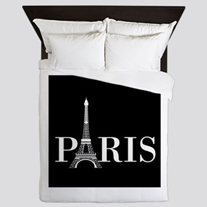 Paris Eiffel Tower Black White Queen Duvet