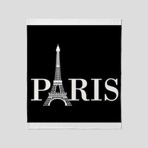 Paris Eiffel Tower Black White Throw Blanket