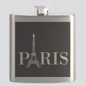 Paris Eiffel Tower Black White Flask
