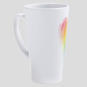watercolor-rainbow-heart_tr 17 oz Latte Mug