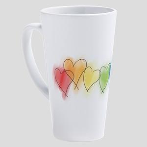 hearts-watercolor-row_tr 17 oz Latte Mug