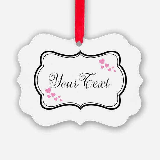 Personalizable Pink Hearts in Black Ornament