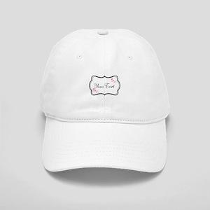Personalizable Pink Hearts in Black Baseball Cap