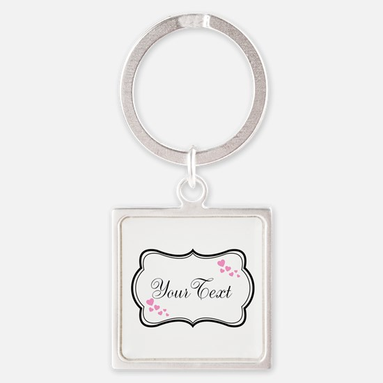 Personalizable Pink Hearts in Black Keychains