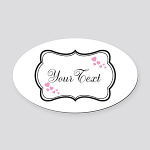Personalizable Pink Hearts in Black Oval Car Magne