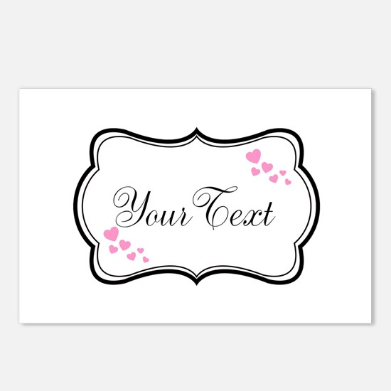 Personalizable Pink Hearts in Black Postcards (Pac