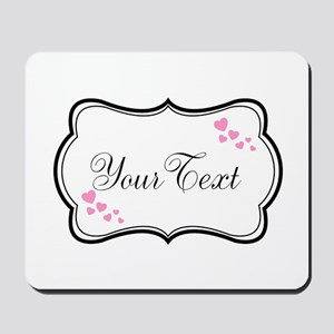 Personalizable Pink Hearts in Black Mousepad