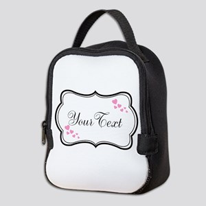 Personalizable Pink Hearts in Black Neoprene Lunch