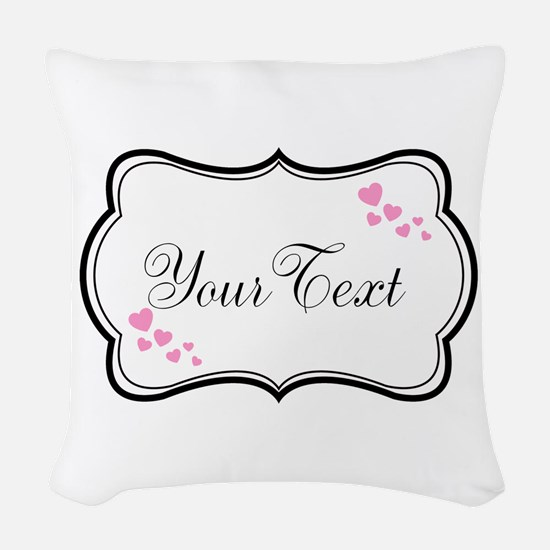 Personalizable Pink Hearts in Black Woven Throw Pi