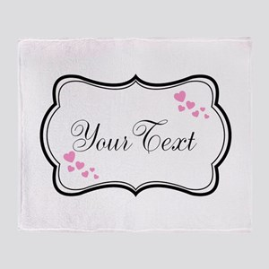 Personalizable Pink Hearts in Black Throw Blanket