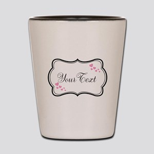 Personalizable Pink Hearts in Black Shot Glass