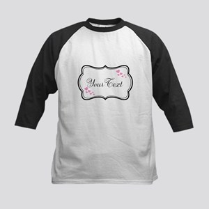Personalizable Pink Hearts in Black Baseball Jerse