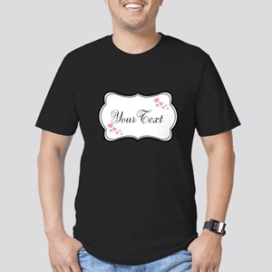 Personalizable Pink Hearts in Black T-Shirt