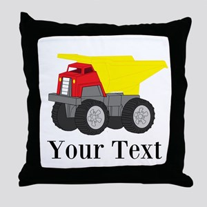 Personalizable Dump Truck Throw Pillow