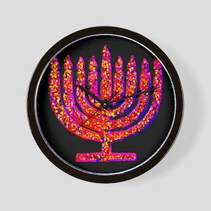 Pink Black Menorah Hannah's Fave Wall Clock