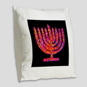 Pink Black Menorah Hannah's Fa Burlap Throw Pillow