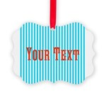 Personalizable Red on Teal Stripes Ornament