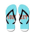 Personalizable Red on Teal Stripes Flip Flops