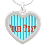 Personalizable Red on Teal Stripes Necklaces