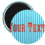 Personalizable Red on Teal Stripes Magnets