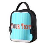 Personalizable Red on Teal Stripes Neoprene Lunch