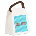 Personalizable Red on Teal Stripes Canvas Lunch Ba