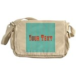 Personalizable Red on Teal Stripes Messenger Bag