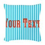 Personalizable Red on Teal Stripes Woven Throw Pil