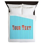 Personalizable Red on Teal Stripes Queen Duvet
