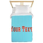 Personalizable Red on Teal Stripes Twin Duvet