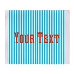 Personalizable Red on Teal Stripes Throw Blanket