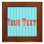 Personalizable Red on Teal Stripes Framed Tile