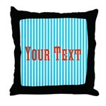 Personalizable Red on Teal Stripes Throw Pillow
