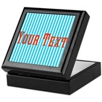 Personalizable Red on Teal Stripes Keepsake Box