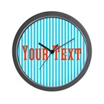Personalizable Red on Teal Stripes Wall Clock