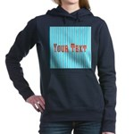 Personalizable Red on Teal Stripes Women's Hooded