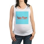 Personalizable Red on Teal Stripes Maternity Tank