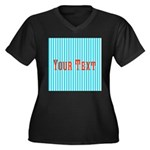 Personalizable Red on Teal Stripes Plus Size T-Shi