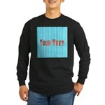 Personalizable Red on Teal Stripes Long Sleeve T-S