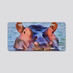Bathing Beauty Hippo Aluminum License Plate