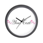 Personalizable Pink Hearts Wall Clock