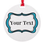 Personalizable Teal Black White 2 Ornament