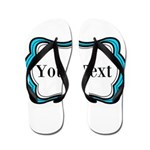 Personalizable Teal Black White 2 Flip Flops